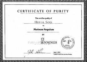 certificate of purity