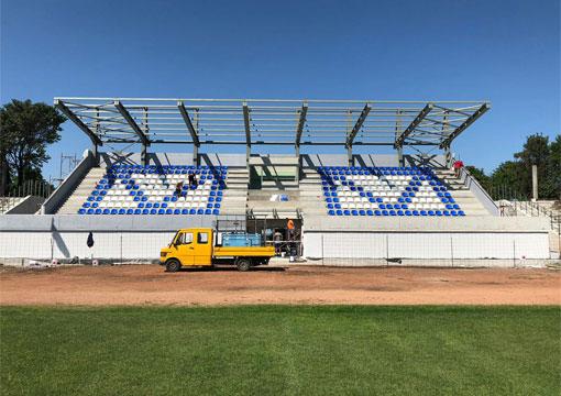 """Реконструкция и ремонт на трибуни и спортно оборудване на стадион """"Загорец"""" от GreenGame"""